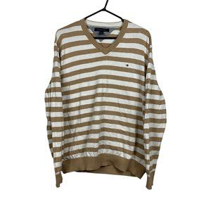 Tommy Hilfiger Sweater Mens Size XL Brown Cotton Striped Pullover Vintage Style